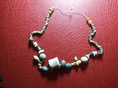 Antique terracotta cylinder & colored stones beads Rare necklace to identify