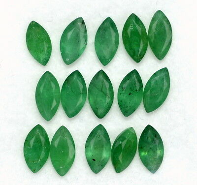Natural Emerald Marquise Cut 6x3 mm Lot 10 Pcs 2.29 Cts Untreated Loose Gemstone