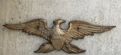 Large Antique Cast Iron Architectural American Eagle Plaque Gateway Or Arch Way