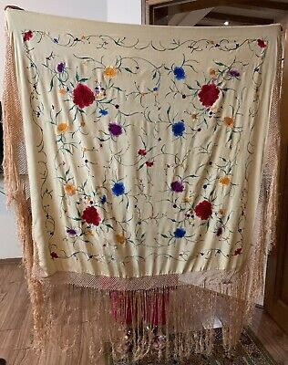 "Antique Chinese Hand Embroidery Pure Silk Piano Shawl 45"" X 46"" FRINGES 16"""