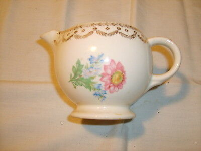 Vintage Creamer with gold trim, spout and handle Flower and Gold Trim