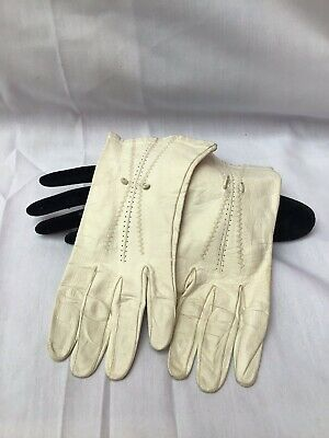Vintage 1940s FOWNES cream Leather Gloves Size 6.5
