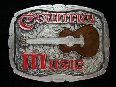 Ng15135 *Nos* Vintage 1982 **Country Music** (Acoustic Guitar) Pewter Buckle