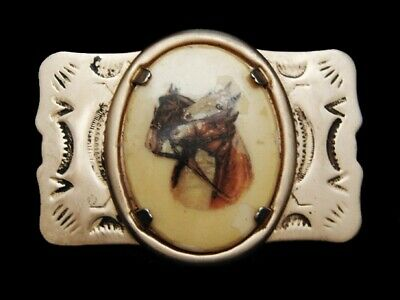 MF23112 VINTAGE 1970s **THREE HORSES PICTURE** WESTERN & COWBOY BELT BUCKLE