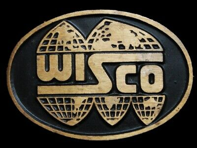 MG03101 *NOS* VINTAGE 1970s ***WISCO*** SOLID BRASS BELT BUCKLE