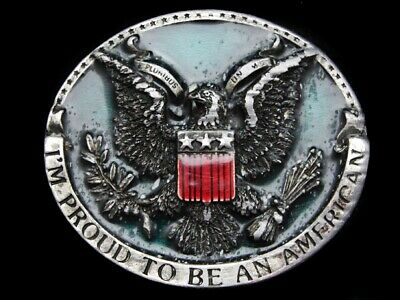Mi07155 Vintage 1981 **I'm Proud To Be An American** Patriotic Belt Buckle