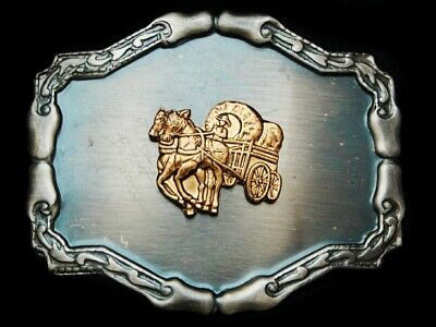 MH25125 VINTAGE 1970s ***COVERED WAGON*** OLD WEST BELT BUCKLE