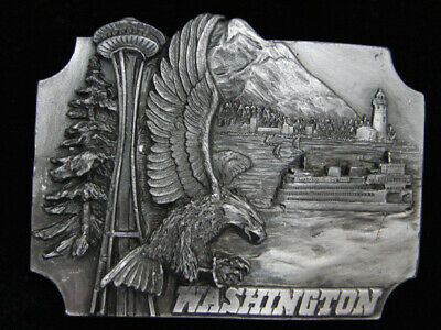 Ph15148 Vintage 1988 **Washington** Statehood Commemorative Pewter Belt Buckle