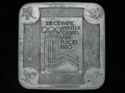 Pe09155 Vintage 1980 **Xiii Olympic Winter Games Lake Placid** Sports Buckle