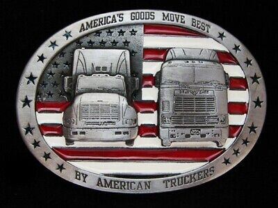 Ng15129 *Nos* Vintage 1994 **American Truckers** Commemorative Pewter Buckle