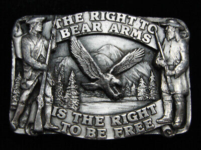 Pg07119 Vintage 1982 **The Right To Bear Arms** Second Amendment Belt Buckle