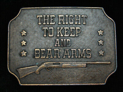 Pk13125 Vintage 1977 **The Right To Keep & Bear Arms** 2Nd Amendment Belt Buckle