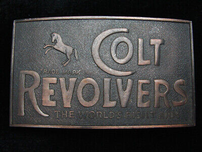 PH15126 *NOS* VINTAGE 1970s *COLT REVOLVERS* GUN & FIREARM BRASSTONE BELT BUCKLE