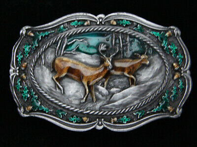 Qg07103 Vintage 1985 **Deer In Forest** Commemorative Art Bergamot Belt Buckle