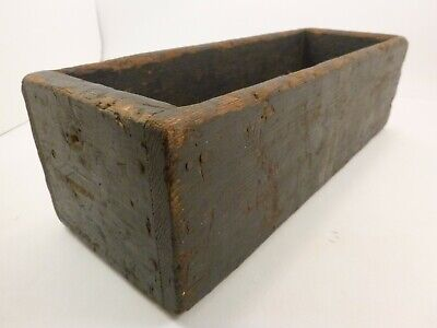 "Antique Primitive Shabby Dark Solid Wood Drawer Box 15"" x 5.5"" x 4.5"" Re-Purpose"