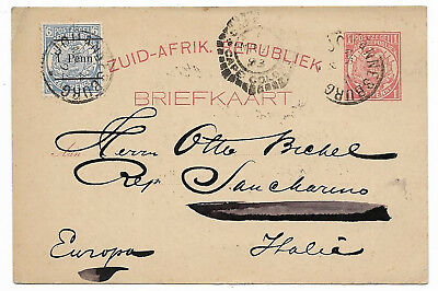 South Africa 1893 Cape Colony uprated stationery card to Italy ON.40,1