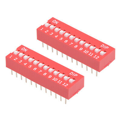 2 Pcs Red DIP Switch Horizontal 1-12 Positions 2.54mm Pitch for Circuit PCB