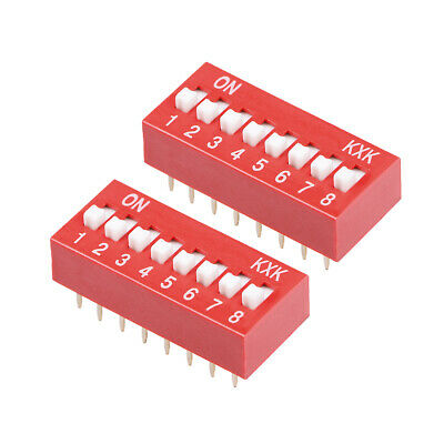 2 Pcs Red DIP Switch 1-8 Positions 2.54mm Pitch for Breadboards PCB