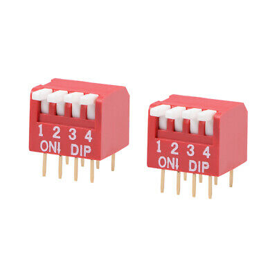 2 Pcs Red DIP Switch Piano-Dip 1-4 Positions 2.54mm Pitch for Circuit PCB