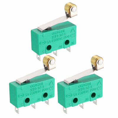 3PCS KW4-3Z-3 Micro Limit Switch SPDT NO NC 3 Terminals Hinge Roller Lever Green