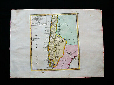 1749 VAUGONDY - orig. map: SOUTH AMERICA, CHILE, SANTIAGO, ARGENTINA, CONCEPCION