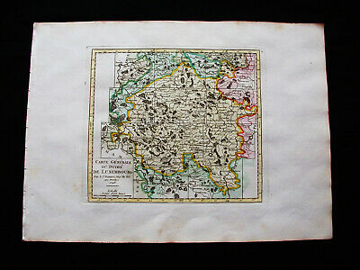 1749 VAUGONDY orig map: NETHERLANDS, HOLLAND, BELGIUM, LUXEMBOURG ARLON BELGIQUE