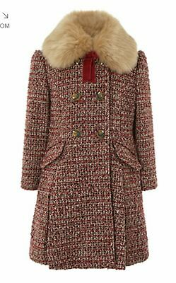 Girls Monsoon Amber Red Tweed Flare Fur School Dress Coat Jacket Age 3 - 13 Year
