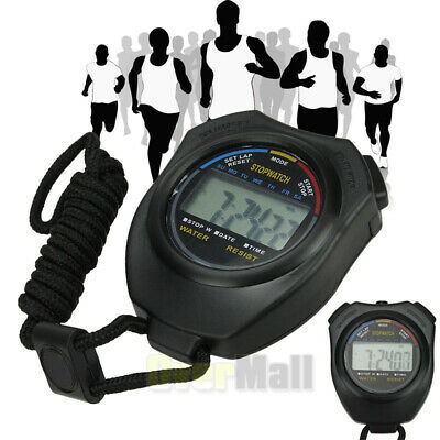 Digital LCD Handheld Chronograph Sports Stopwatch Counter Timer With Strap USA