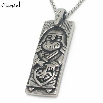 MENDEL Mens Viking Warrior Odin Thor of Hammer Necklace Pendant Stainless Steel