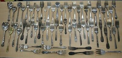 Lot of 60 Silver Plate Serving Forks Craft BUY IT NOW FREE SHIPPING 11