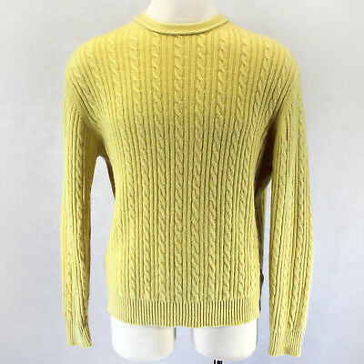 918bc4681e6 Black Brown 1826 2-Ply 100% Cashmere Cable Knit Yellow Crew Neck Sweater X