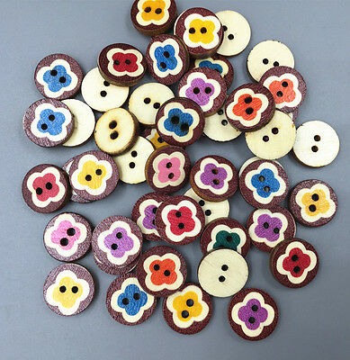 50X Wooden Round Buttons flower Mixed-color Sewing decoration Scrapbooking 15mm