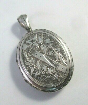 """ANTIQUE Victorian ETCHED BUCKLE & FLORAL STERLING SILVER MOURNING LOCKET 1-9/16"""""""