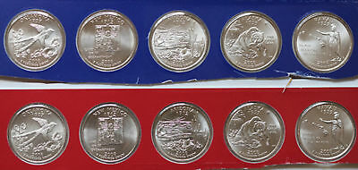 2008 P and D State Quarters 10 Satin Coins Mint Set BU Statehood 25c State Coin