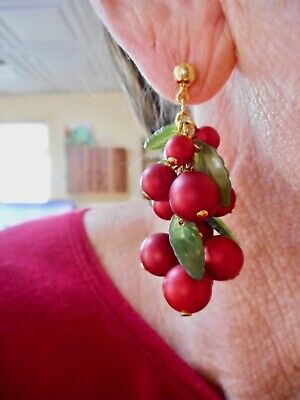 Authentic Vintage 1950's Faux Pearl RED w/Green Leaves Dangle Pierced Earrings
