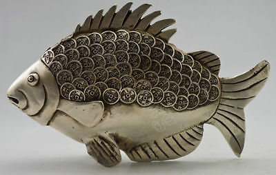 Collectible Decorated Old Handwork Tibet Silver Carved GUangxu Coin Fish Statue