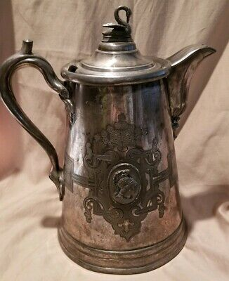 Antique Meriden Britannia Company Double Wall Water Pitcher Rare Swan Top Js40