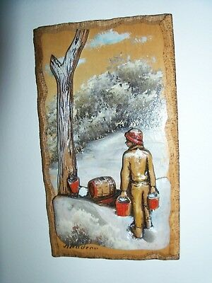 Hand Painted 3D Folk Art Wood Carving Plaques  Signed N. Nadeau Qc Canada