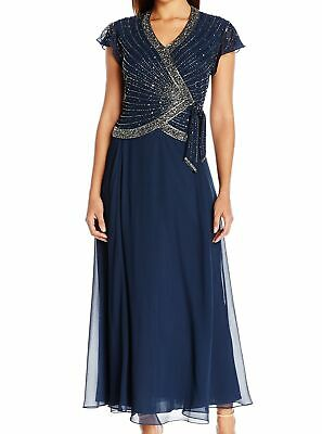 badc4e4869ab1 J Kara NEW Blue Women s Size 6P Petite Gown Embellished V-Neck Dress  218