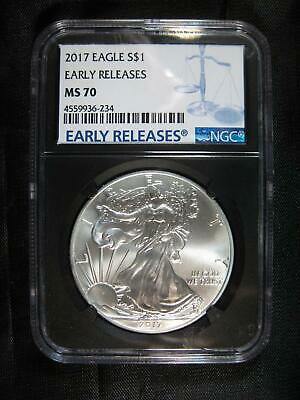 2017 Silver Eagle NGC MS 70 - Early Releases Highest Grade - Black Core Holder