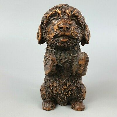 Collectible Chinese Old Antique Boxwood Handwork Cute French Poodle Teddy Statue