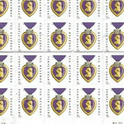 NEW USPS PURPLE HEART 1 sheet of 20 postage stamps  Forever Mint-folded