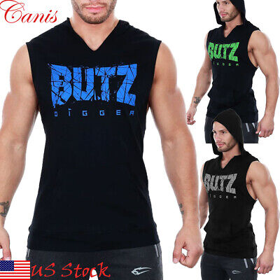 df107a081ba64 Men Gym Clothing Bodybuilding Stringer Hoodie Tank Tops Muscle Hooded Shirt  Vest