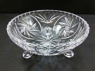 """Cut Crystal 3 Footed Bowl, Star and Pinwheel Patterns, Candy Dish, 5 3/4"""" wide"""