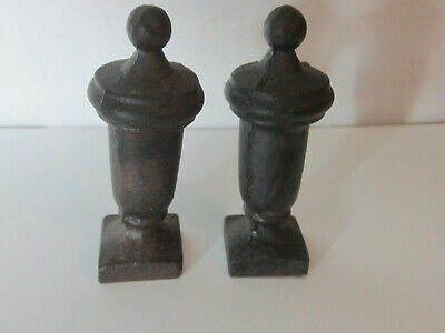 Antique Black Solid Cast Iron Chess Pieces Lot of Two Estate Find
