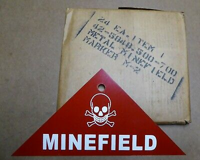 Original Steel Sign Wwii Minefield Warning Skull Crossbones Nos 1942 Army Mine