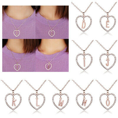 Women Fashion Crystal Initial 26 Letters A-Z Alphabet Heart Pendant Necklace