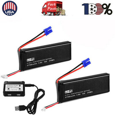 US 2 IN 1 7.4V Li-po Battery 2S Blance Charger For Hubsan H501S X4 Quad 2x600mA