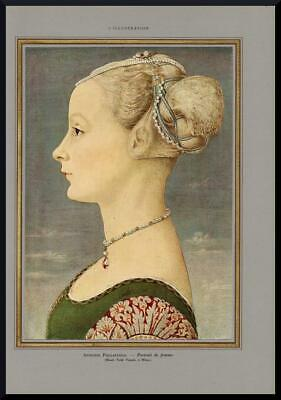 1935 ORIGINAL FRENCH VINTAGE PRINT Portrait of a Lady by ANTONIO POLLAIUOLO 2482