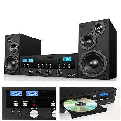 CD Bluetooth Stereo System Home Speaker CD Player FM Radio Aux-In Headphone Jack